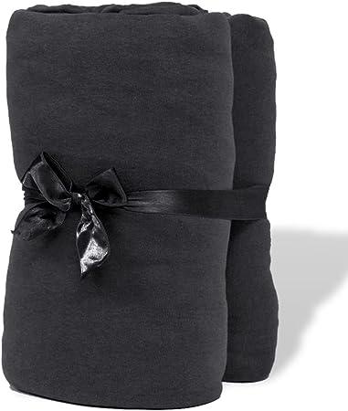vidaXL 2 Fundas Ajustables de algodón Gris Antracita para colchón, 90x190-100x200 cm: Amazon.es: Hogar