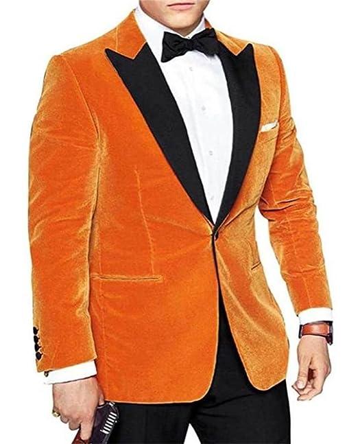Mesky Chaqueta para Hombres en Invierno Pana Disfraz de Eggsy Cosplay Traje Formal Escenario Coat Naranja para Negocio: Amazon.es: Ropa y accesorios
