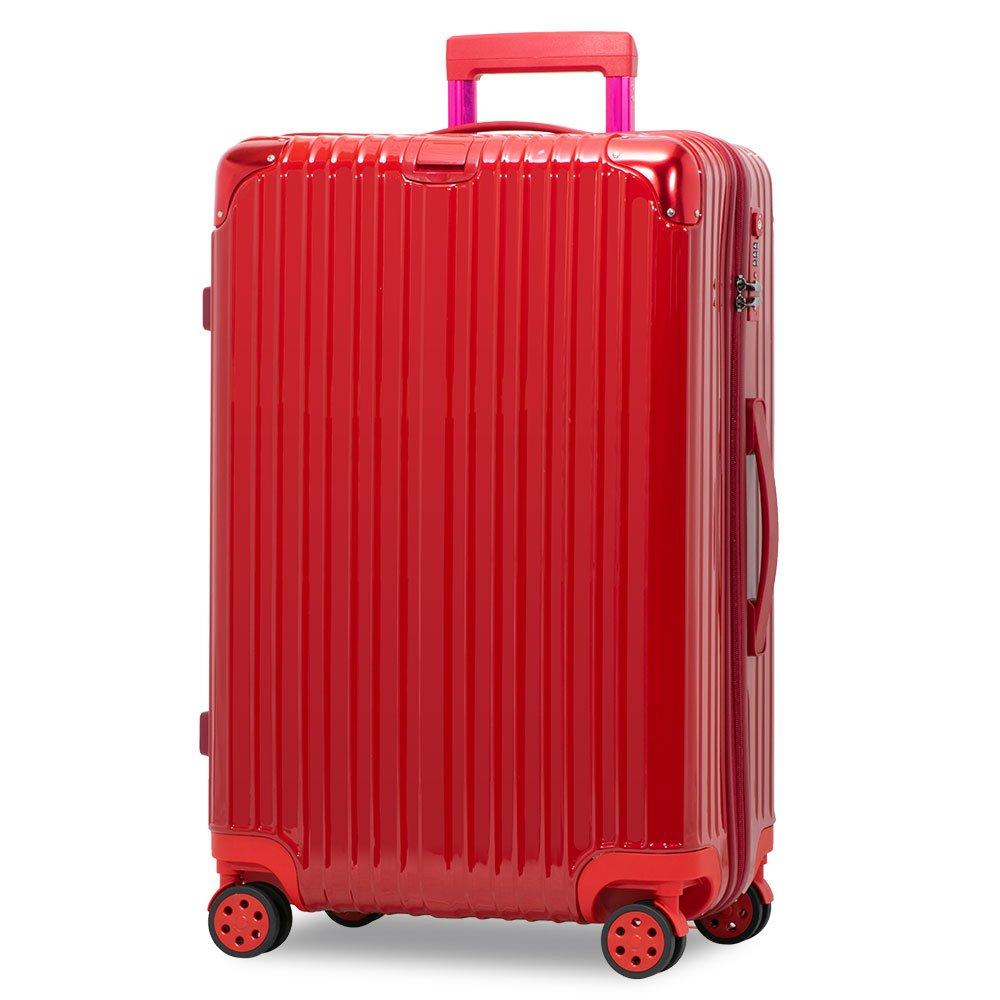 スーツケース アルミフレーム 機内持込~大型 軽量 超消音 ダブルキャスター 8輪 TSA キャリーケース キャリーバッグ B01N6HKLC2 M(3~5泊)-58L-ファスナー|レッド/ レッド/ M(3~5泊)-58L-ファスナー