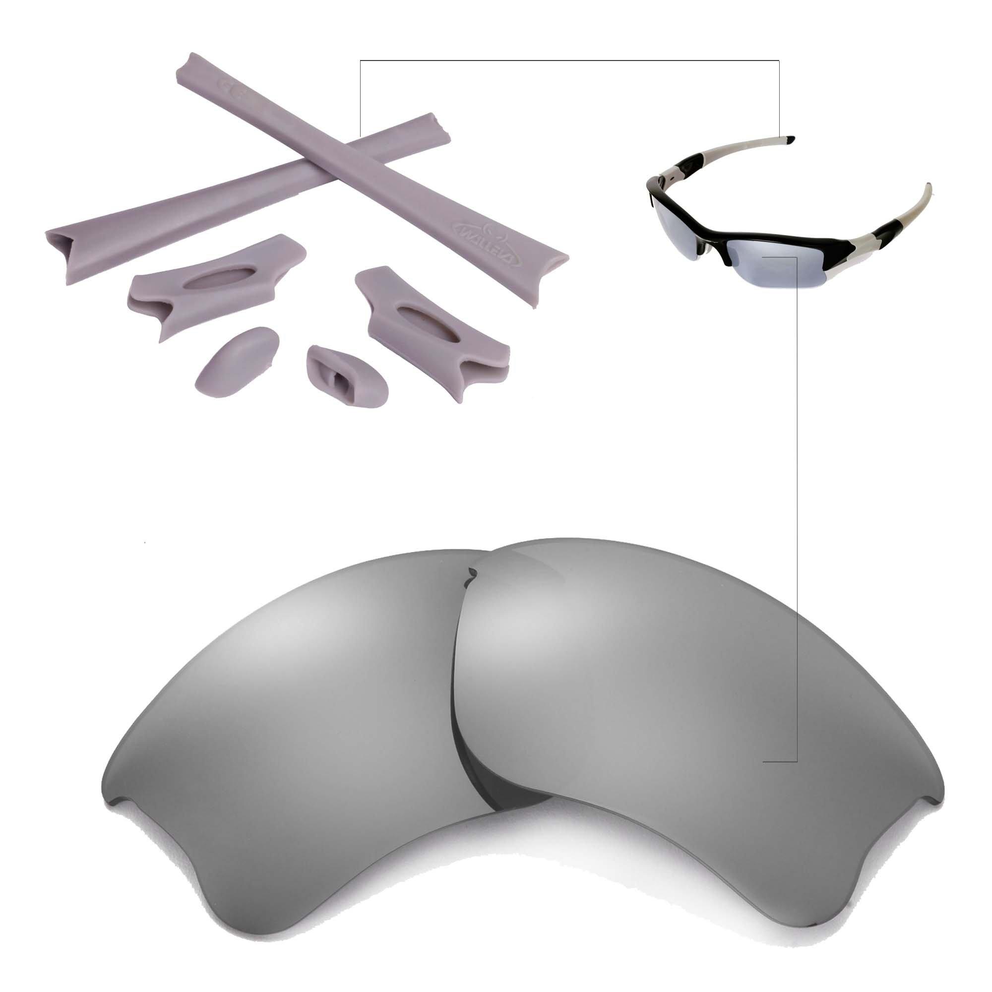 Walleva Titanium Polarized Lenses Grey Rubber Kit Oakley Flak Jacket XLJ