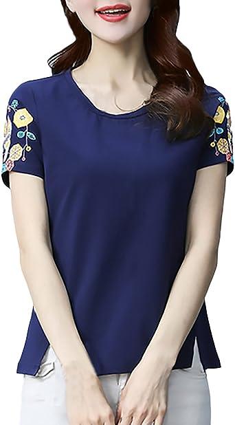Mujer T Shirt Floreadas Blusa Manga Corta Cuello Redondo ...