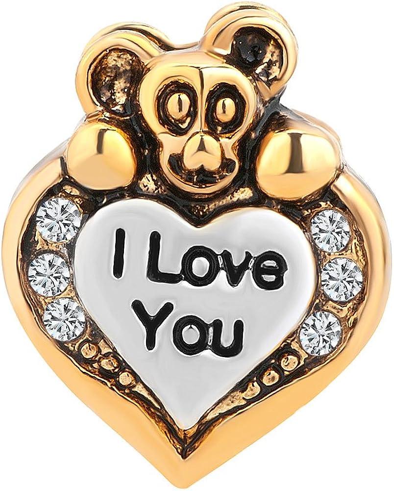 """con scritta in lingua inglese /""""I Love you/"""" ciondolo a forma di cuore per braccialetto con diamante artificiale trasparente Uniqueen"""