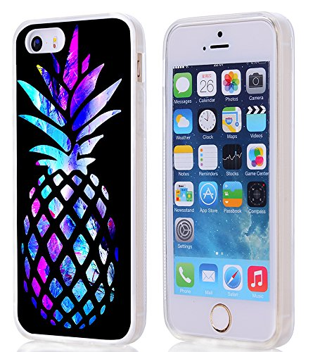 Pineapple Case for iPhone SE/5S/5,Gifun Anti-Slide and Drop Protection Soft TPU Premium Flexible Protective Case for iPhone SE/5S/5 - Brightly Colored Marble Pineapple