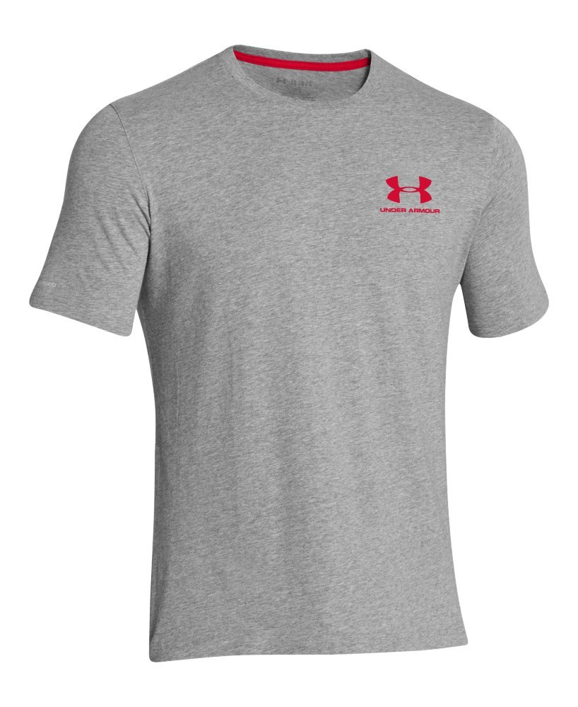 Under Armour Men's Charged Cotton Left Chest Lockup T-Shirt, True Gray Heather /Red, XXX-Large by Under Armour (Image #4)
