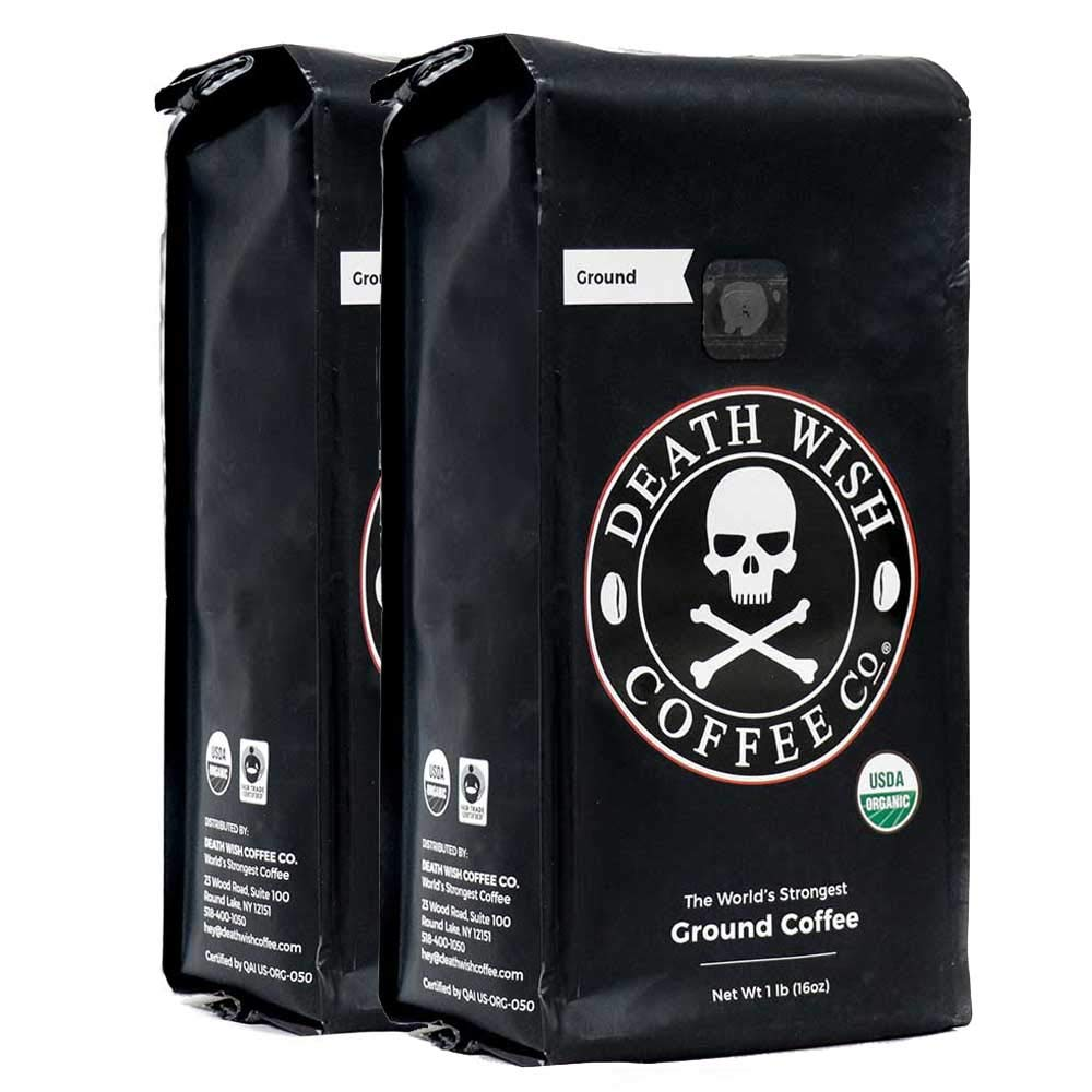 Death Wish Ground Coffee Bundle Deal, The World's Strongest Coffee, Fair Trade and USDA Certified Organic - 2 lb by Death Wish Coffee