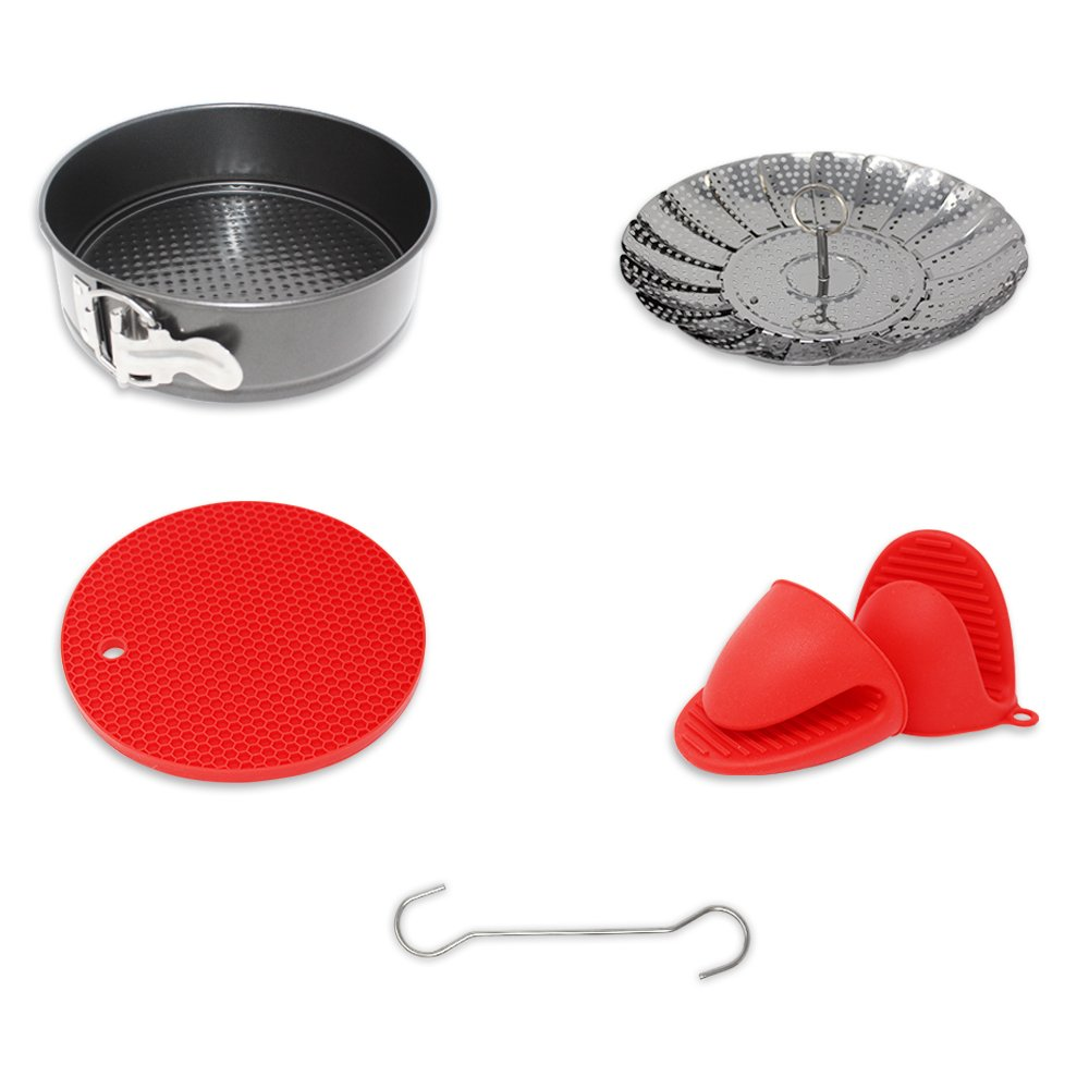 5 Piece Instant-Pot/Pressure Cooker Accessories Set, Bundle Includes High Carbon Springform Pan, Stainless Steel Steamer Basket, Silicone Baking Mat, Silicone Mitts & Safety Tool, Fits 6qt and 8qt Cuisinery