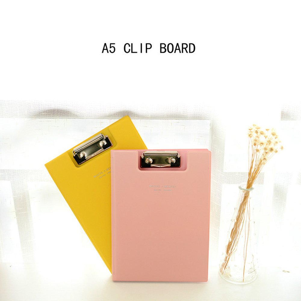 Zhi Jin Conference Macaron A5 Foldover File Writing Clipboard Folder Foolscap Hard Board Document Organizer Pink