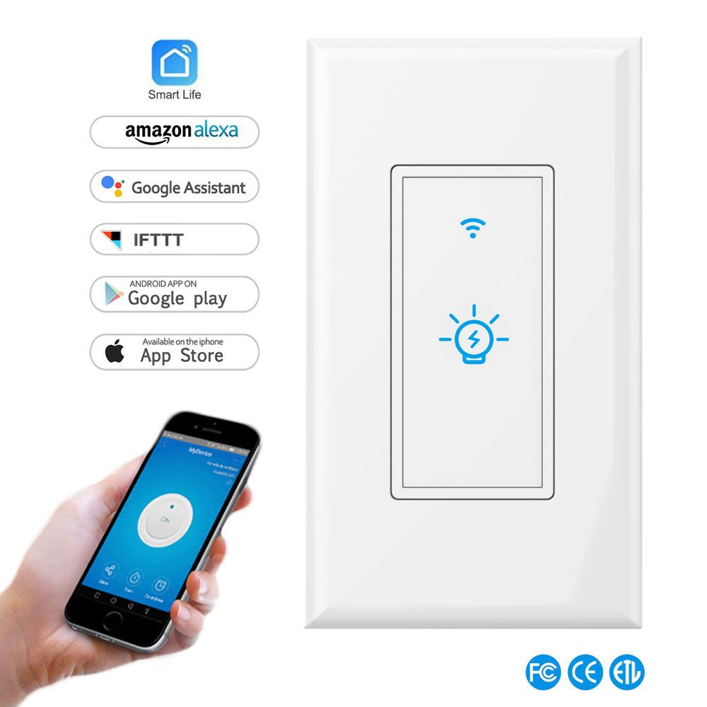Smart Light Switch,In-wall Wireless Light Switch Compatible with Alexa and Google Home,No Hub Required,Timing Function,Overload Protection,Control Your Fixtures From Anywhere