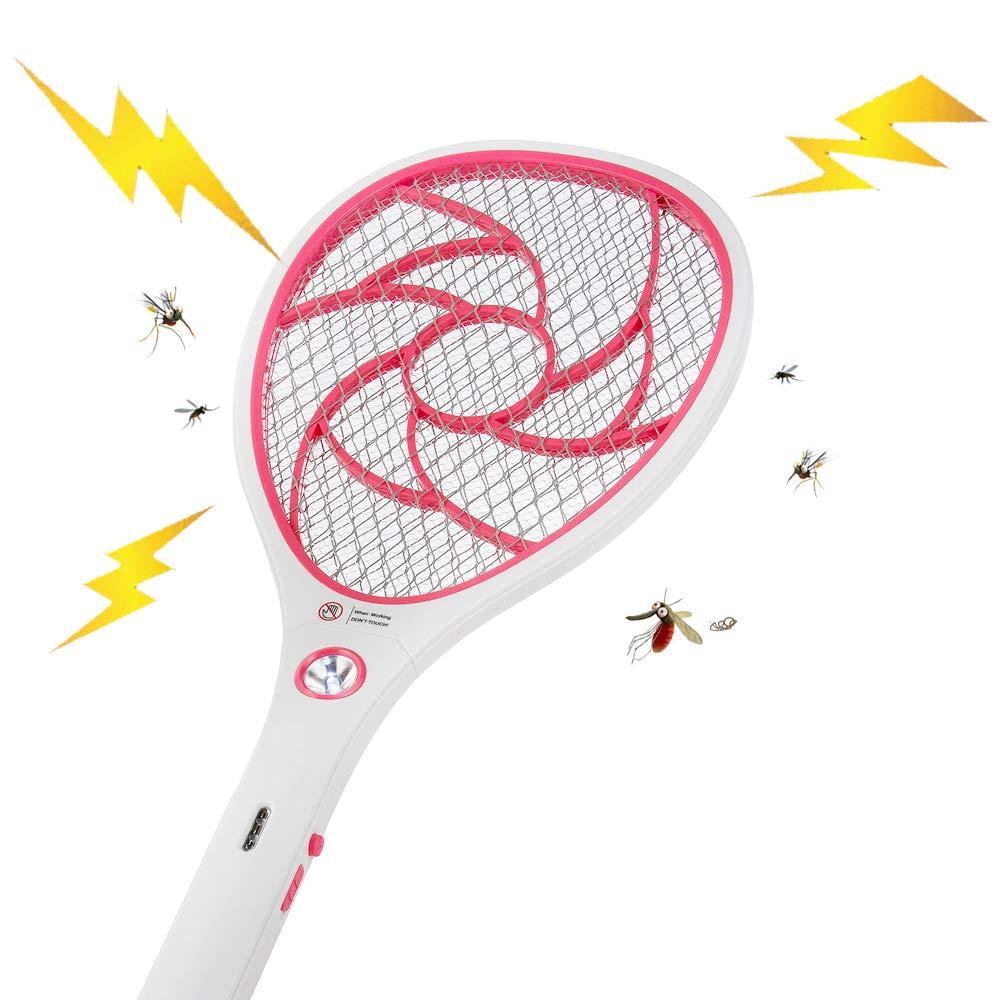 tapette/à Mouches et Autres Insectes Volants Rechargeable par USB /Éclairage LED Double Couche de Protection en Maille ZOMAKE Raquette Anti Moustique Electrique Rechargeable Roug