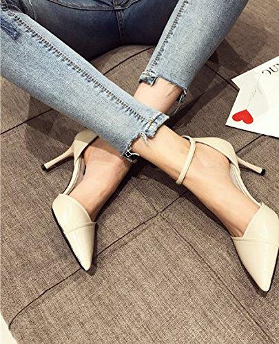 match Moda zapatos Todos solo Retro blanco 34 A Turricephaly 8cm boca de multa Transpirable poca talones Ajunr La elegante Ocio 39 Con arroz Sandalias 78xpqd