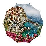 Travel Umbrella,Italy,10 Ribs Finest Windproof Umbrella with Teflon Coating, Auto Open Close and Upgraded Comfort Handle 45 Inch,Monarola Antique Village in Cinque Terre Coastal Panorama Summer Beach