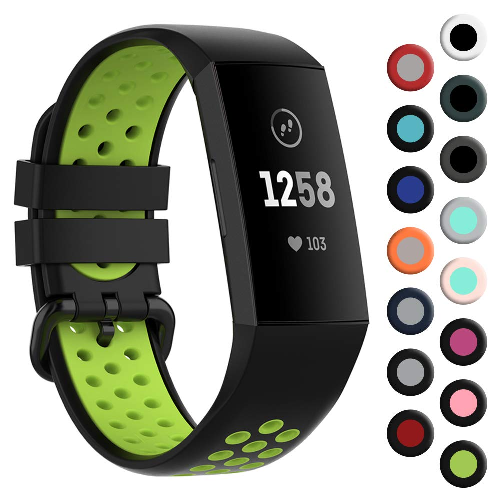 """Replacement Bands Compatible with Fitbit Charge 4 3 SE for Men,YHC Sport Watch Bands Soft Silicone Wristbands Breathable (Large(6.5""""-9""""), Black/Fluorescent Green)"""