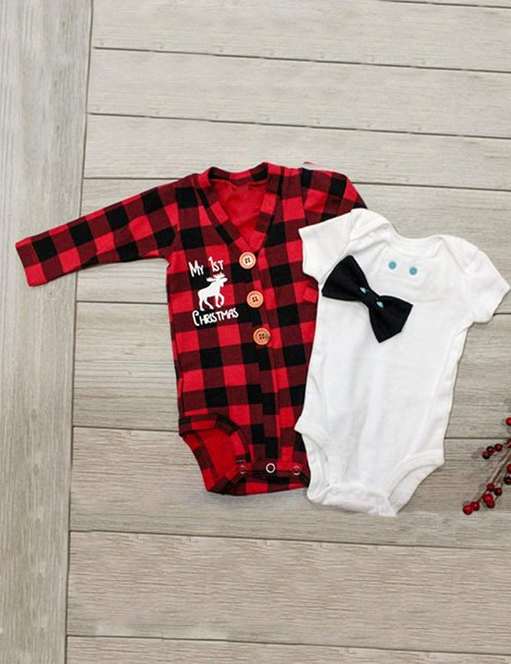 90f5e0f85b0b ... Newborn Baby Boys Girls Christmas Plaid Cardigan Romper Christmas Outfit  with Moose Embroidery 2Pcs Outfit Set