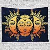 BLEUM CADE Icejazz Psychedelic Tapestry Indian Moon and Sun with Many Fractal Faces Tapestry Celestial Energy Mystic Tapestries Wall Hanging Tapestry for Bedroom Living Room Dorm (Face, 59.1''X59.1'')