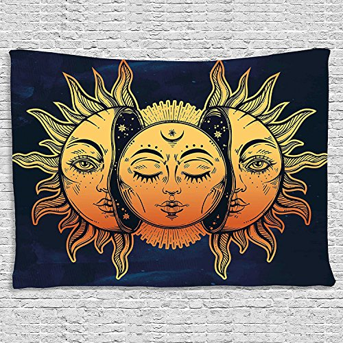 """BLEUM CADE Psychedelic Tapestry Indian Moon and Sun with Many Fractal Faces Tapestry Celestial Energy Mystic Tapestries Wall Hanging Tapestry for Bedroom Living Room Dorm (51.2""""X59.1"""", Face)"""