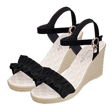 9699d083703 WM   MW Summer Women Buckle Strap Wedges Sandals Ruffle Peep Toe Heeled  Sandals Holiday Beach