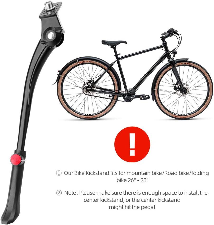 Soporte Central para Bicicleta con Pie de Goma Antideslizante para Bicicletas de 26 a 28 Pulgadas Soporte Ajustable para Bicicleta de Aleaci/ón de Aluminio LYCAON Pata de Cabra para Bicicleta