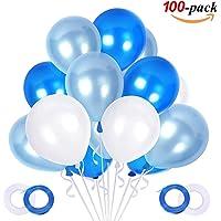 JOJOR Globos Azules y Blancos,100 Piezas Azul Globos
