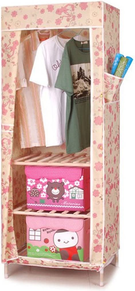 MMM/& Solid Wood Simple Wardrobe Cloth Hanger Folding Assembly Reinforcement Truss Cloth Wardrobes Color : #1