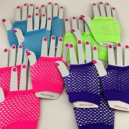 [Adorox Assorted Fingerless Diva Fishnet Neon Colors Wrist Gloves Costume (Assorted (12 Gloves))] (Fishnet Gloves)