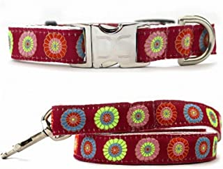 """product image for Diva-Dog 'Sahara Rose' Custom Small Dog 5/8"""" Wide Dog Collar with Plain or Engraved Buckle, Matching Leash Available - Teacup, XS/S"""