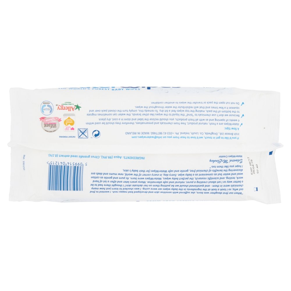 Pack of 4 Worlds Purest Baby Wipes 60s DERMAH2O DermaH20 Water Wipes