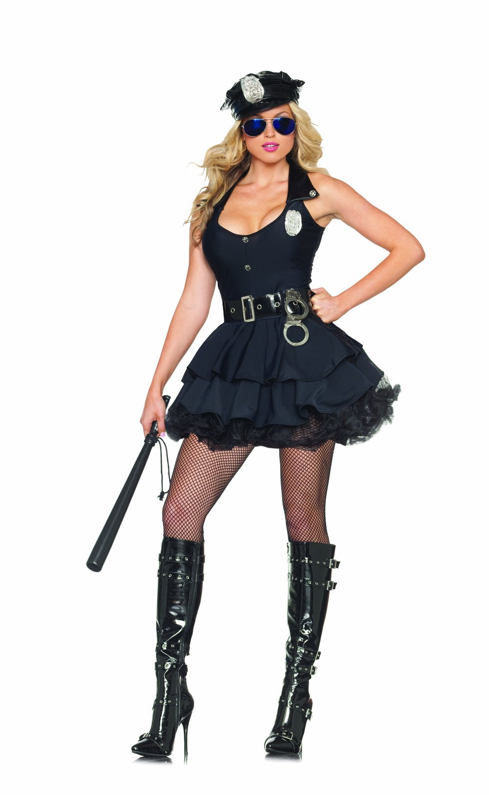 Party King Women's Sexy Cop 5 Piece Costume Dress Set with Hat, Black, Small