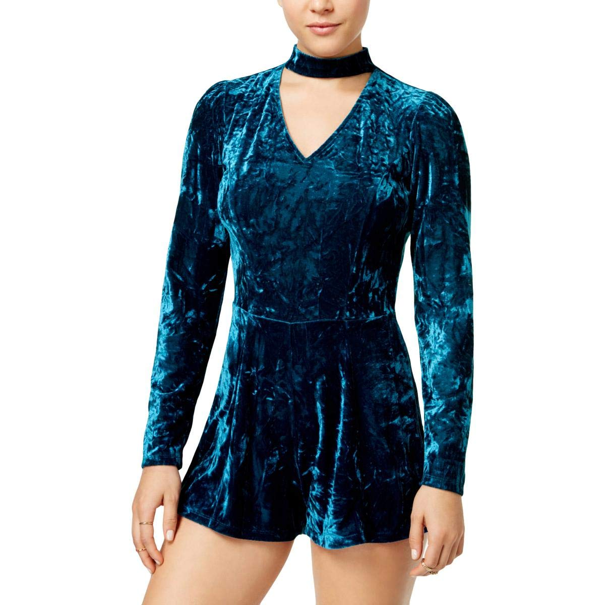 39021740992b Amazon.com  Be Bop Womens Juniors Velvet Mock Neck Romper  Clothing