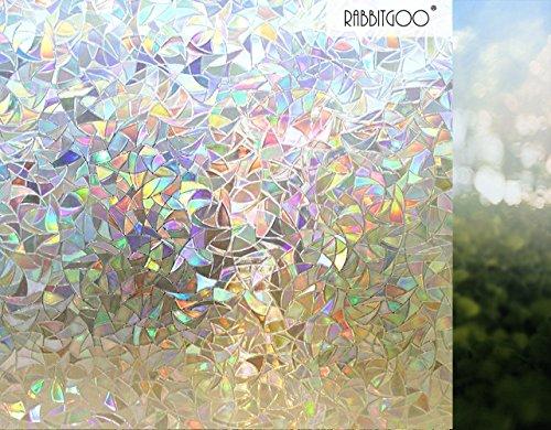 Rabbitgoo® 3D Fensterfolie Dekorfolie Sichtschutzfolie Fensterschutzfolie Selbstklebend, Statisch Haftend, Anti-UV, Upgrade Version 60*200cm