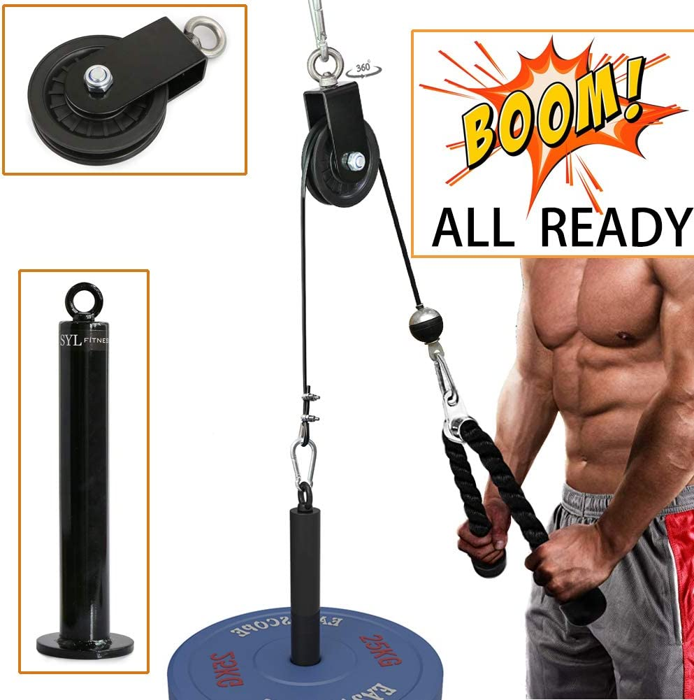 SYL Fitness LAT Pulley System with Loading Pin DIY Gym Cable Crossover Attachment