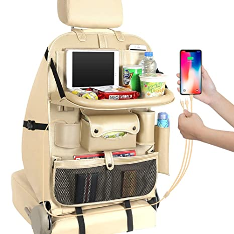 Clear Tablet Holder for Kids /& Family Road Trip Accessories Anti Kicking Mat /& Auto Backseat Protector with Foldable Dining Table Black Moko Car Storage Bag Holder Back Seat Car Organizer
