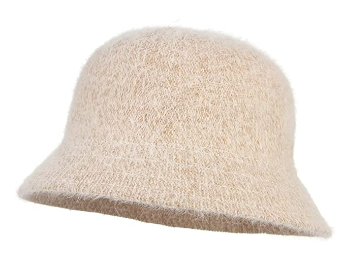 a86d5d002bfda Gemvie Women's Solid Angora Cloche Hat Autumn Winter Warm Wool Vintage Wide  Brim Bucket Cloche Hat