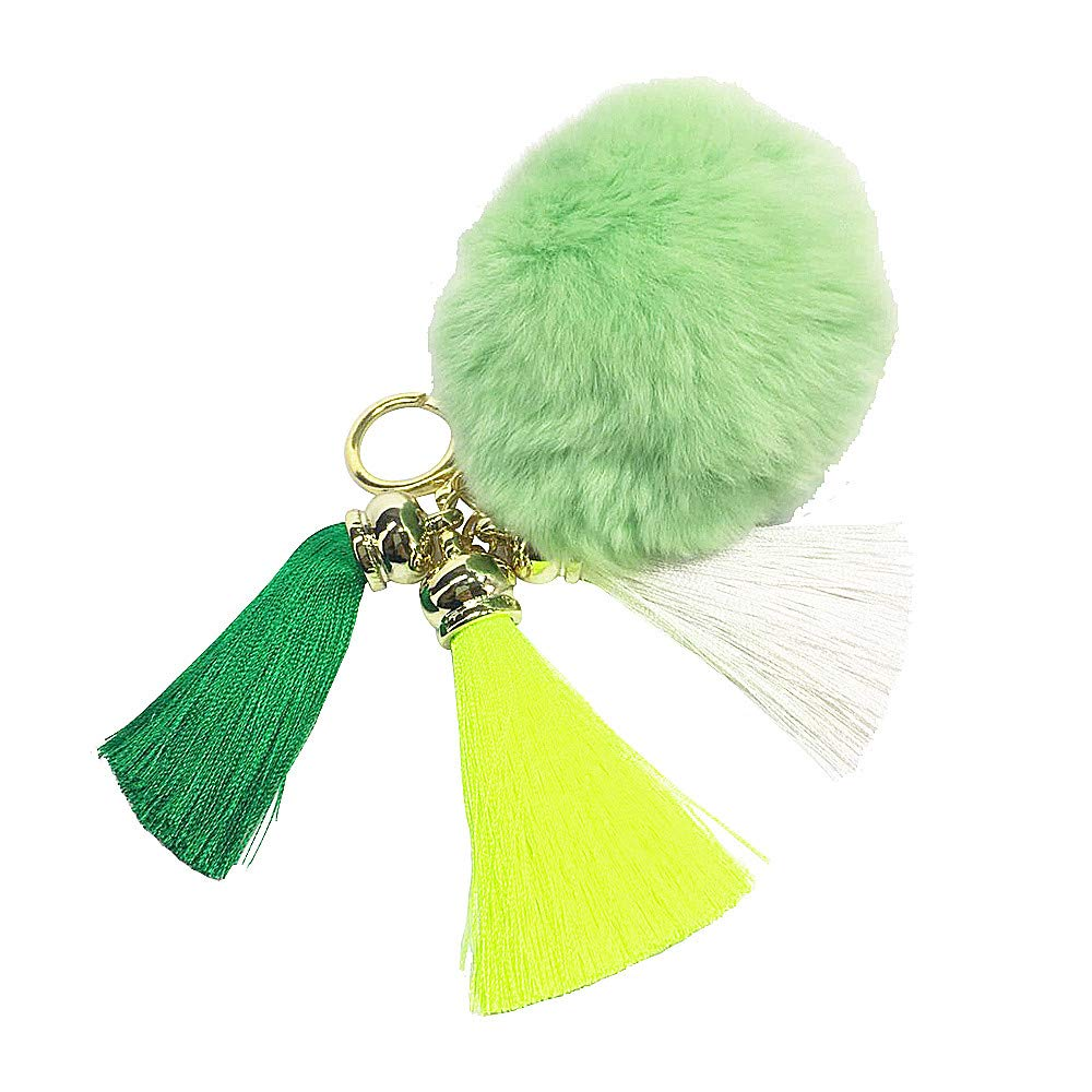 Soft Rabbit Fur Pom Pom Keychain with Rainbow Tassel Keychains for Women Quality Pop Keychain Car Ring Handbag Decoration (Green)