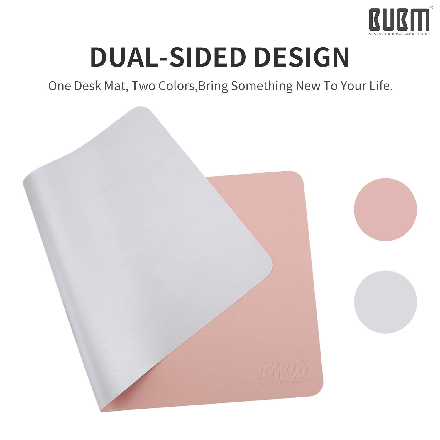 Desk Pad Mouse Pad/Mat - BUBM Large Gaming Mouse Pad Desktop Pad Protector PU Leather Laptop pad for Office and Home,Waterproof and Smooth,2 Year Warranty(35.4'' 17.7'', Pink+Silver) by BUBM (Image #2)