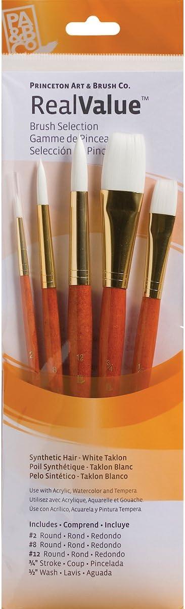 Round Paint Brush Synthetic Hair Artist Brushes White Wood Handle Paint Brush LH