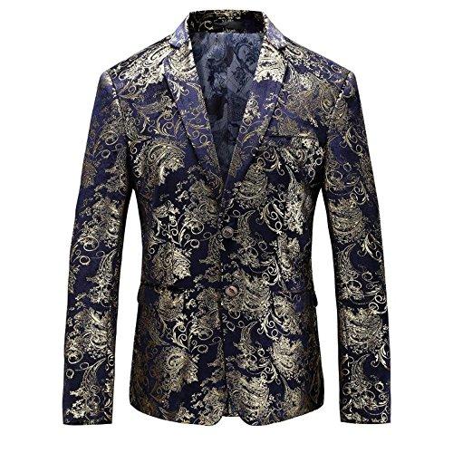 MAGE MALE Men's Dress Party Floral Suit Jacket Notched Lapel Slim Fit Two Button Stylish Blazer, Large, Blue-golden