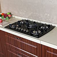 NEW MODEL!! 30 Tempered Glass 3.3KW/h (11259 Btu/h) Built-in Kitchen 5 Burner Oven Gas Cooktops