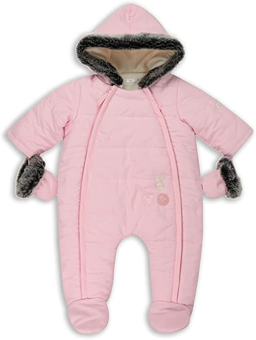 6232f11e8a07 The Essential One - Baby Girls Fur Trimmed Snowsuit - Pink - 0-3 ...