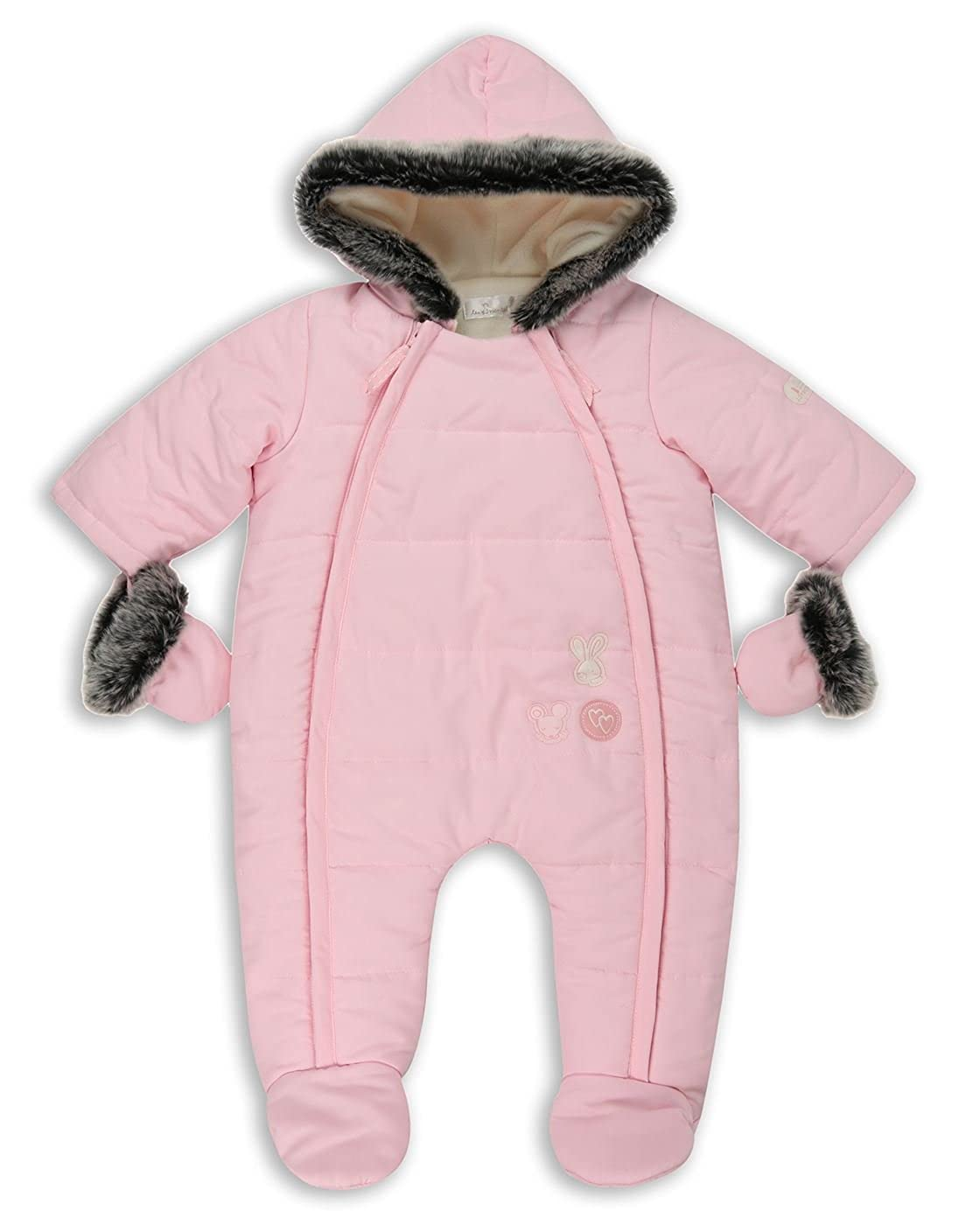 The Essential One - Baby Girls Fur Trimmed Pramsuit/Snowsuit - Pink - EO251