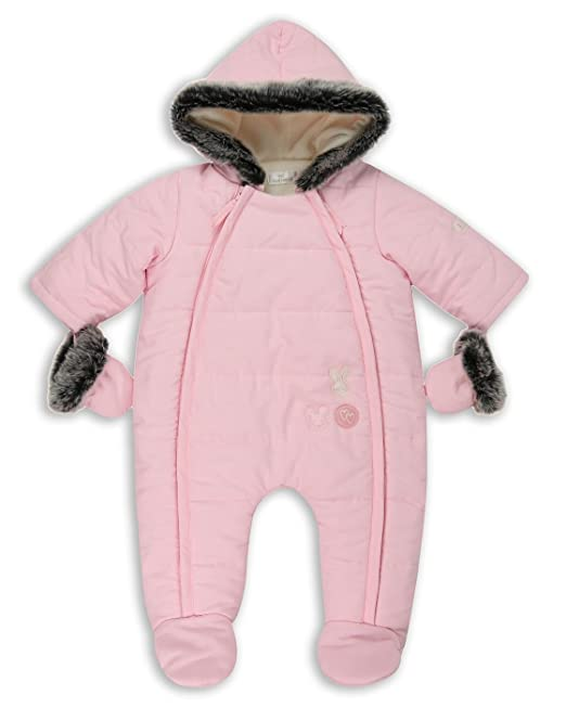 eb19651d4 The Essential One - Baby Girls Fur Trimmed Pramsuit Snowsuit - Pink ...