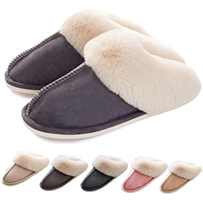 Womens Slippers Memory Foam Slippers Fluffy Warm Non-Slip Comfortable Slip-on House Shoes Plush Indoor/Outdoor Winter Fur Slippers | Slippers