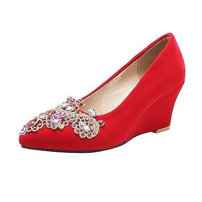 YE Damen Spitze High Heels Keilabsatz Pumps mit Strass Hochzeit Elegant Schuhe