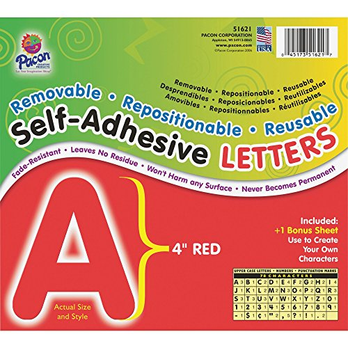 Pacon Corporation 51621 Self-Adhesive Letters, 4-Inch, 78 Characters, Red from PACON
