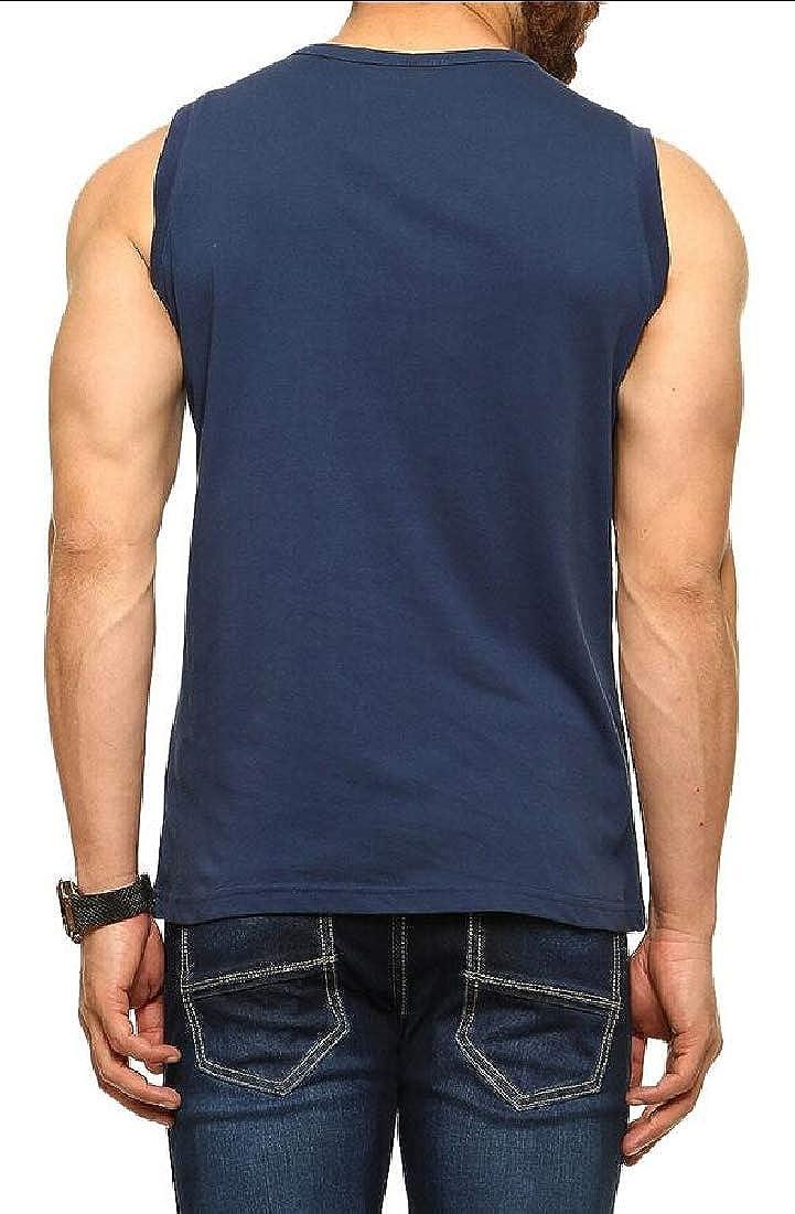 Gocgt Mens Slim Fit Sleeveless Shirt Henley Neck Casual Button Tank Top
