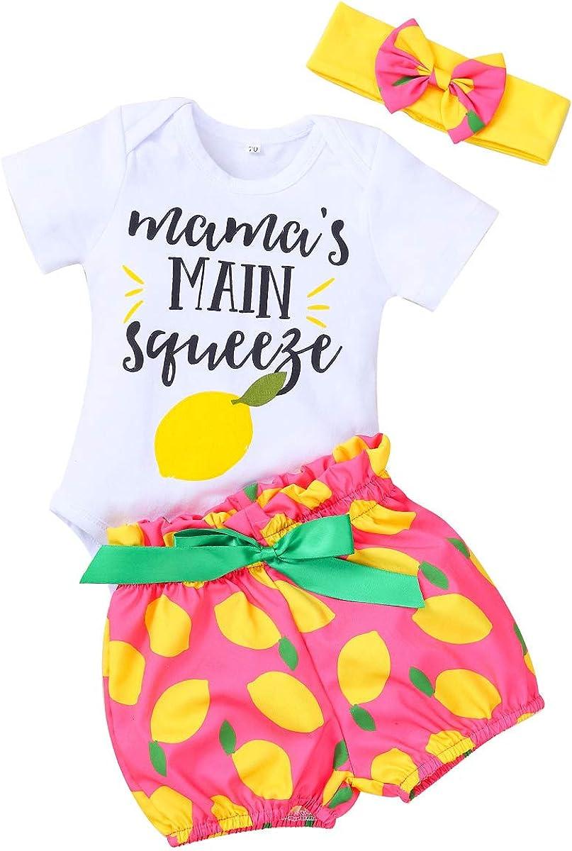 Set Vestiti della Neonata Vestiti Vestito Stampa Abbigliamento Mango Tuta Pagliaccetto Pantaloncini Corti Bowknot Fascia Camidy 3Pcs
