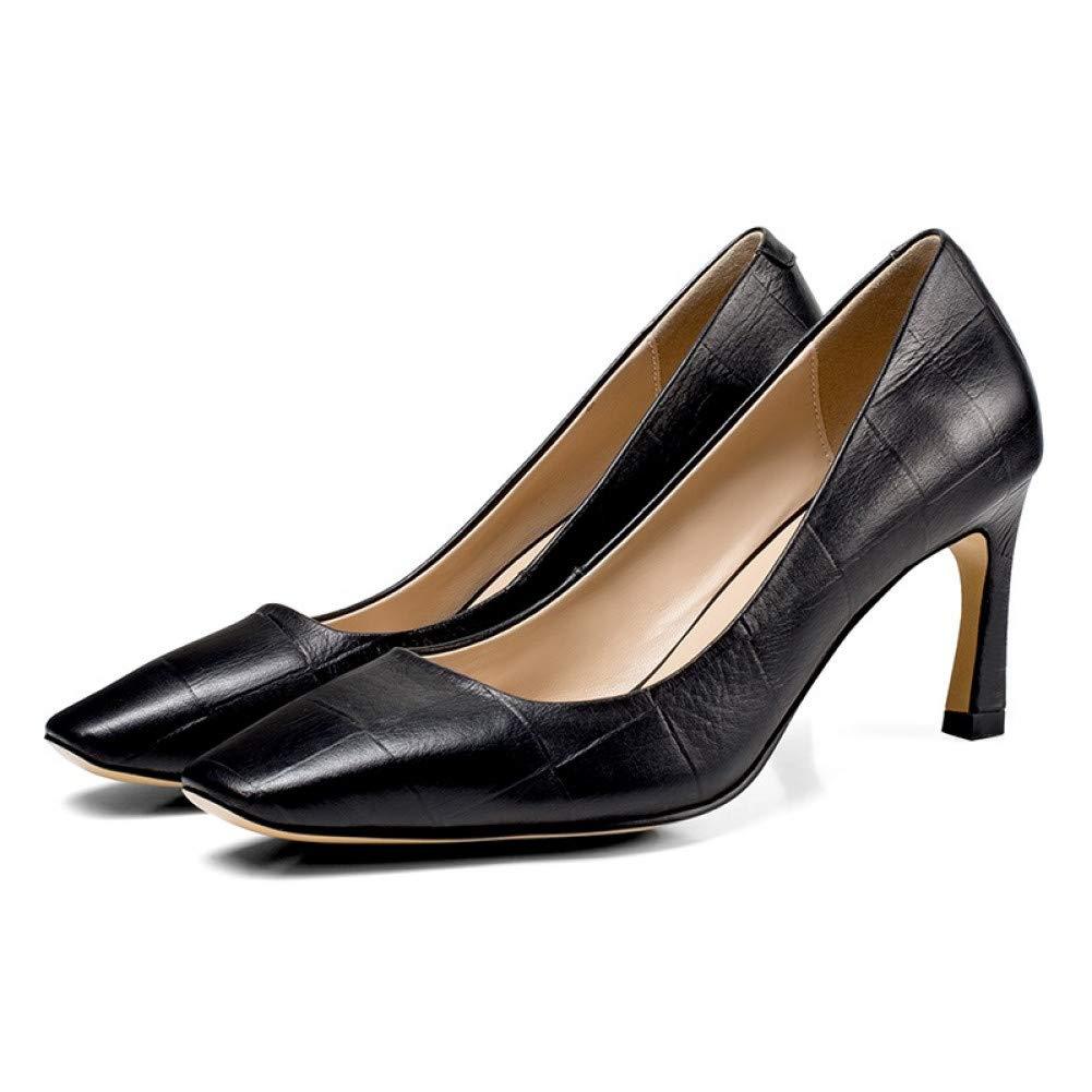 PINGXIANNV Frauen-Pumpen-Frühlings-Mode-Handgemachte Lederne Lederne Lederne Schuhe Frauen 7 cm Dünne Fersen-Flache Quadratische Zehe-Partei-Schuhe B07PCS291K Tanzschuhe Verkaufspreis d180d3