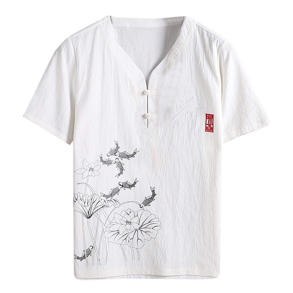 ღCotone e Lino Maniche Corte Maglietta uomoღxinxinyu Il Tempo Libero degli Uomini Camicia con Bottoni Tinta Unita Divertenti Vintage Stile Cinese T Shirt Camicie