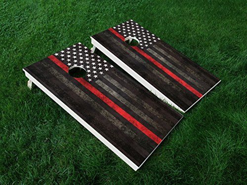 DISTRESSED AMERICA THIN RED LINE 01 USA FLAG POLICE CORNHOLE WRAP SET Vinyl Board DECAL Baggo Bag Toss Boards MADE IN the USA