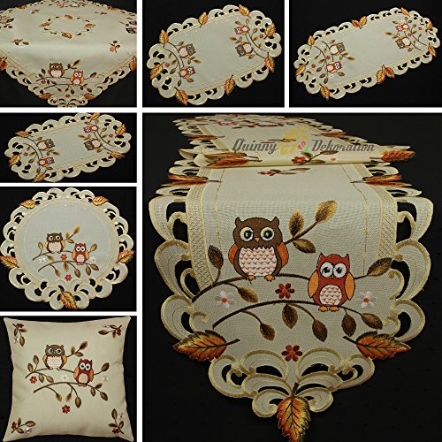 8' Doilies (Quinnyshop Cute Owl In Fall Embroidery Doily 8-Inch (20 cm) Round Linen Look Polyester, Cream Brown)