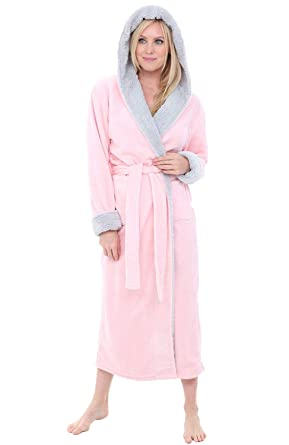 afebcc5bc5a9 Alexander Del Rossa Womens Fleece Robe, Long Hooded Bathrobe, Small Medium  Pink Rose Quartz